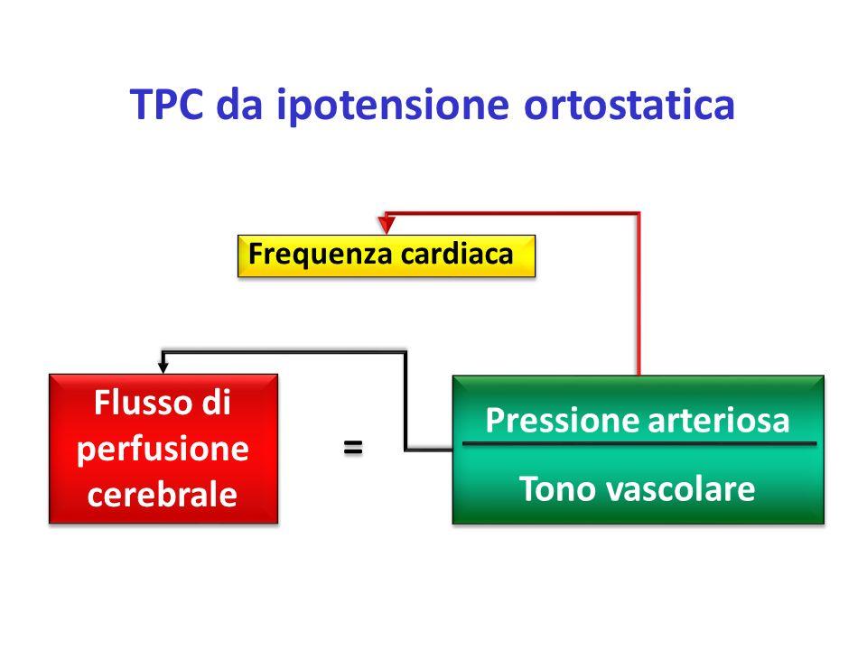 Frequenza cardiaca Flusso di perfusione cerebrale Pressione arteriosa Tono vascolare = = TPC da ipotensione ortostatica