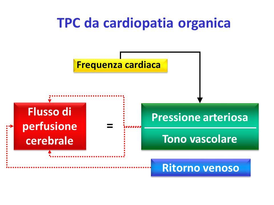 Frequenza cardiaca Flusso di perfusione cerebrale Pressione arteriosa Tono vascolare = TPC da cardiopatia organica Ritorno venoso