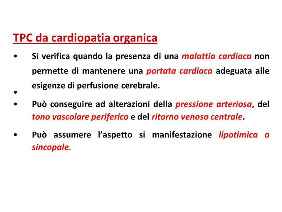 TPC da cardiopatia organica Si verifica quando la presenza di una malattia cardiaca non permette di mantenere una portata cardiaca adeguata alle esige
