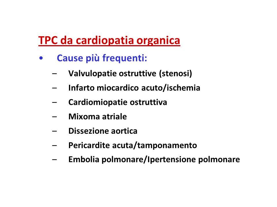TPC da cardiopatia organica Cause più frequenti: –V–Valvulopatie ostruttive (stenosi) –I–Infarto miocardico acuto/ischemia –C–Cardiomiopatie ostruttiv