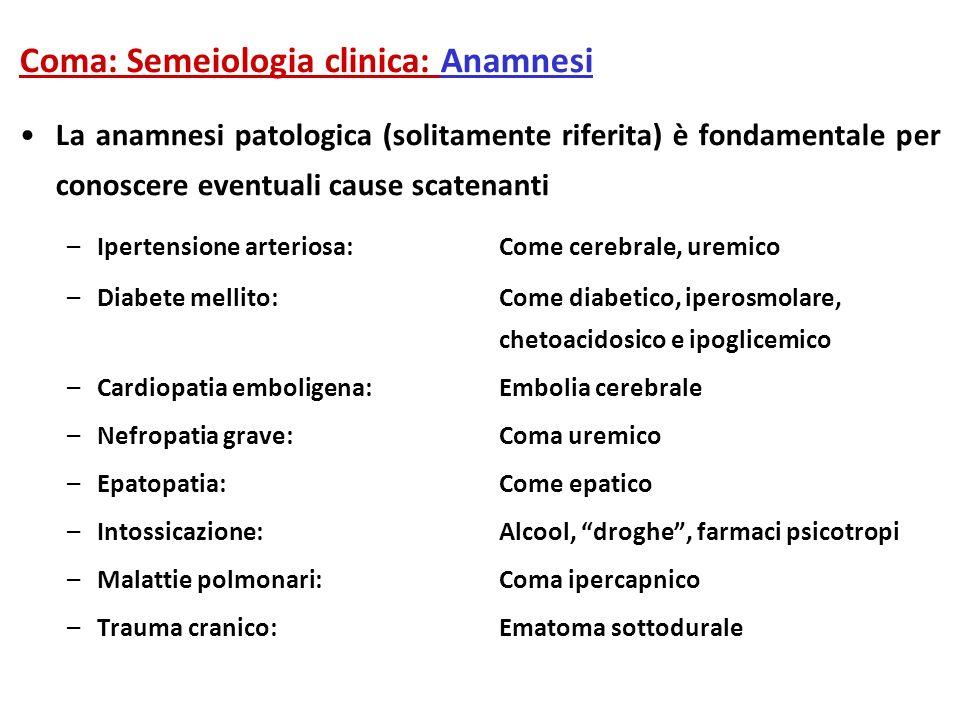 Coma: Semeiologia clinica: Anamnesi La anamnesi patologica (solitamente riferita) è fondamentale per conoscere eventuali cause scatenanti –Ipertension