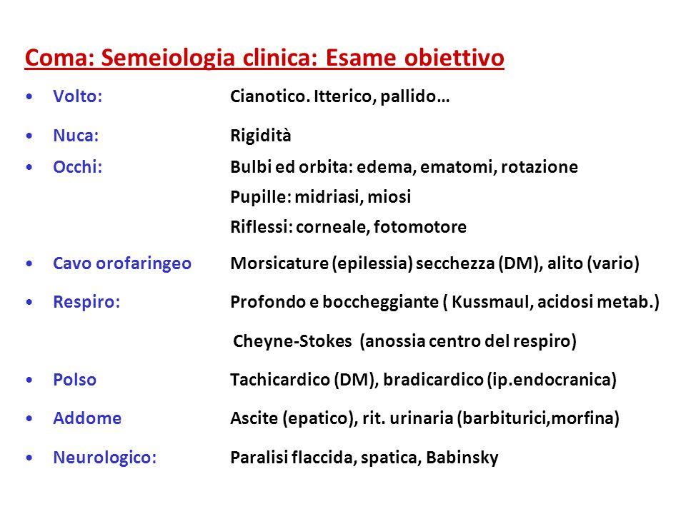 Coma: Semeiologia clinica: Esame obiettivo Volto:Cianotico. Itterico, pallido… Nuca:Rigidità Occhi:Bulbi ed orbita: edema, ematomi, rotazione Pupille: