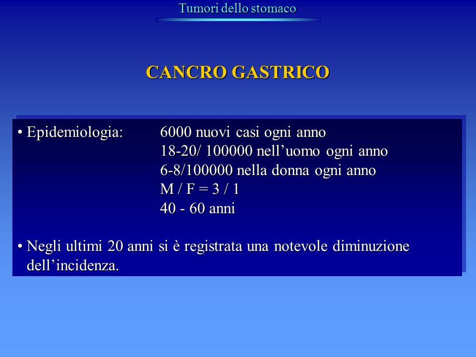 Tumori dello stomaco Epidemiologia:6000 nuovi casi ogni annoEpidemiologia:6000 nuovi casi ogni anno 18-20/ 100000 nelluomo ogni anno 6-8/100000 nella