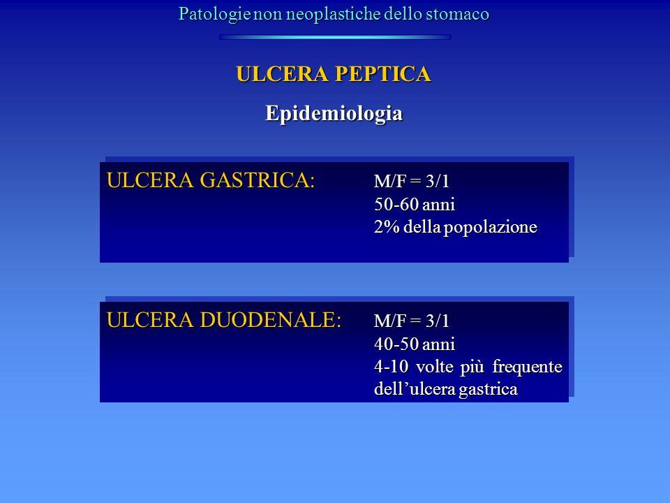 ULCERA PEPTICA Clinica ULCERA GASTRICA: Dolore epigastrico postprandiale precoce (<30 min dal pasto) Pirosi epigastrica Anemia sideropenica Vomito (se stenosi cicatriziale) ULCERA GASTRICA: Dolore epigastrico postprandiale precoce (<30 min dal pasto) Pirosi epigastrica Anemia sideropenica Vomito (se stenosi cicatriziale) ULCERA DUODENALE: Dolore postprandiale tardivo (>90 min dal pasto) Nausea e vomito (spasmo riflesso del piloro) Recrudescenza tipica stagionale (primavera e autunno) Anemia sideropenica ULCERA DUODENALE: Dolore postprandiale tardivo (>90 min dal pasto) Nausea e vomito (spasmo riflesso del piloro) Recrudescenza tipica stagionale (primavera e autunno) Anemia sideropenica Patologie non neoplastiche dello stomaco