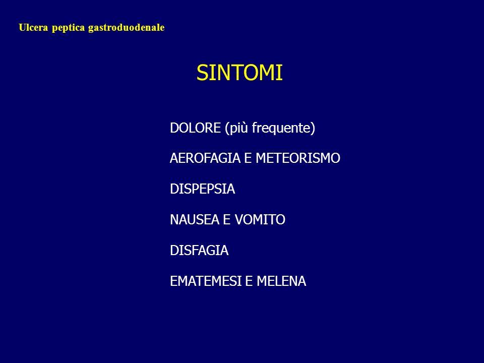 Ulcera peptica gastroduodenale SINTOMI DOLORE (più frequente) AEROFAGIA E METEORISMO DISPEPSIA NAUSEA E VOMITO DISFAGIA EMATEMESI E MELENA