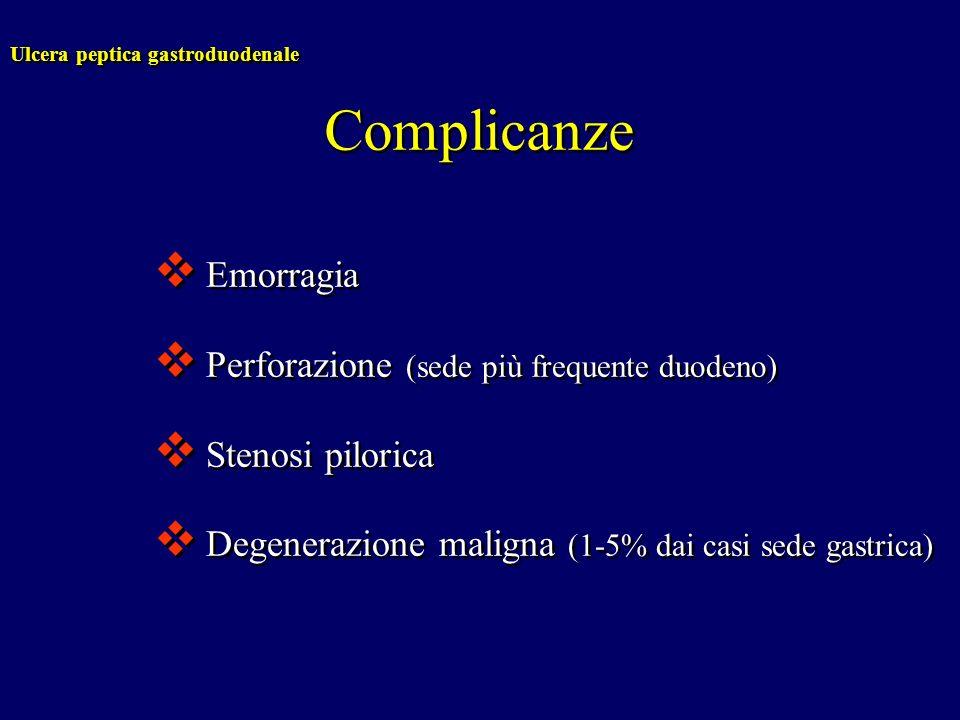 Ulcera peptica gastroduodenale Complicanze Emorragia Perforazione (sede più frequente duodeno) Stenosi pilorica Degenerazione maligna (1-5% dai casi s