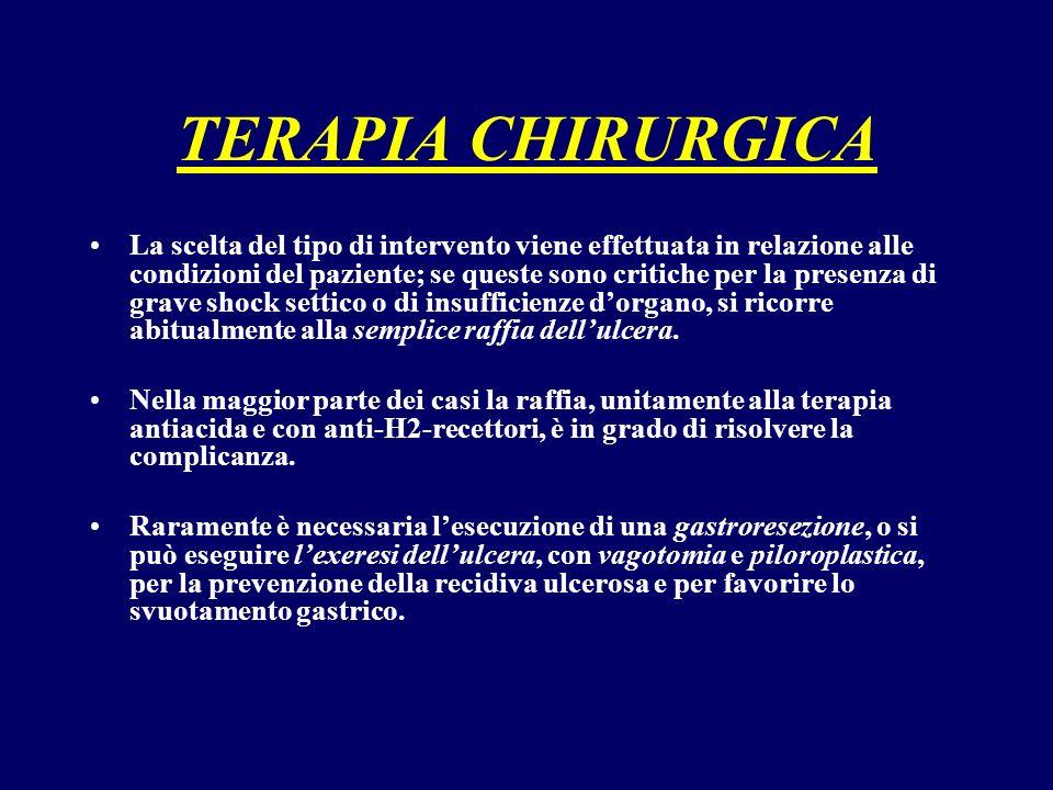 TERAPIA CHIRURGICA La scelta del tipo di intervento viene effettuata in relazione alle condizioni del paziente; se queste sono critiche per la presenz