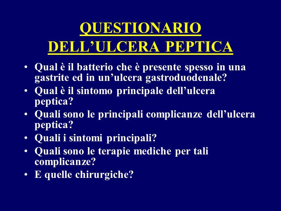 QUESTIONARIO DELLULCERA PEPTICA Qual è il batterio che è presente spesso in una gastrite ed in unulcera gastroduodenale? Qual è il sintomo principale