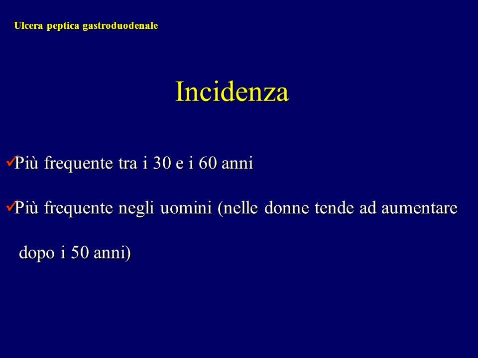 Ulcera peptica gastroduodenale Incidenza Più frequente tra i 30 e i 60 anni Più frequente negli uomini (nelle donne tende ad aumentare dopo i 50 anni)