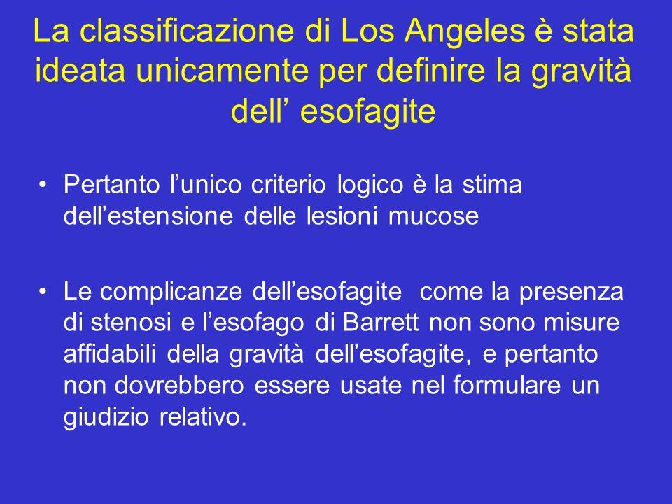 La classificazione di Los Angeles è stata ideata unicamente per definire la gravità dell esofagite Pertanto lunico criterio logico è la stima delleste