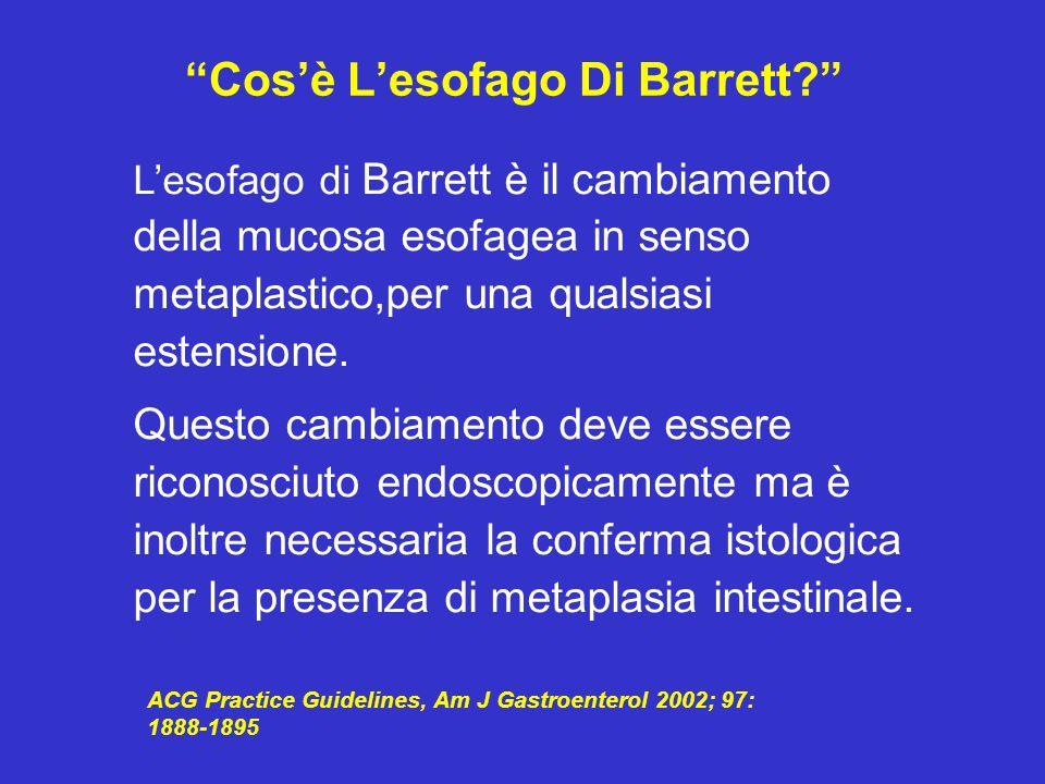 Lesofago di Barrett è il cambiamento della mucosa esofagea in senso metaplastico,per una qualsiasi estensione. Questo cambiamento deve essere riconosc