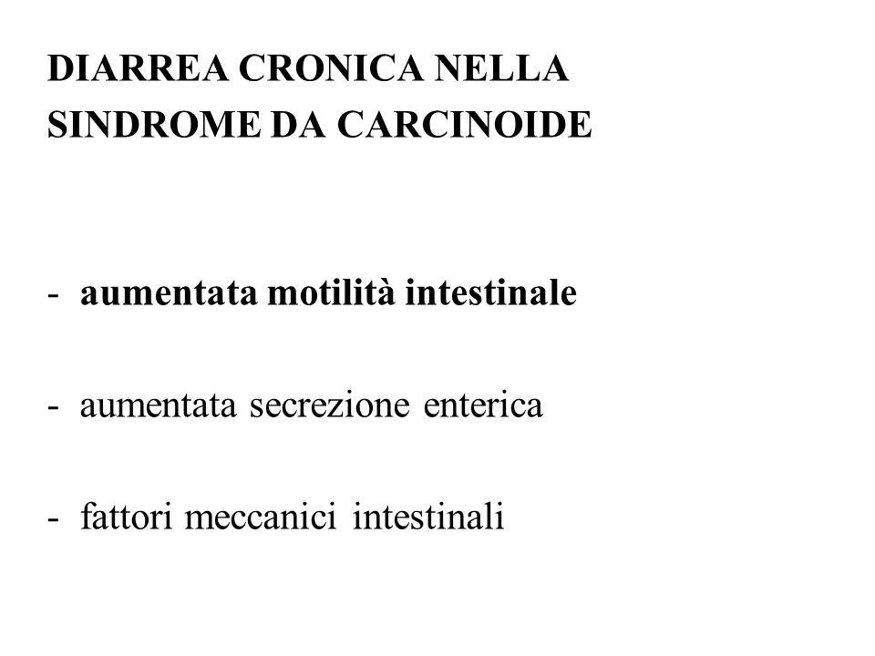 DIARREA CRONICA NELLA SINDROME DA CARCINOIDE -aumentata motilità intestinale -aumentata secrezione enterica -fattori meccanici intestinali