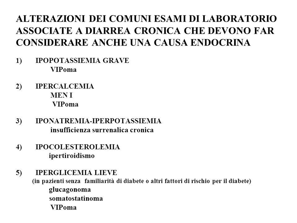 ALTERAZIONI DEI COMUNI ESAMI DI LABORATORIO ASSOCIATE A DIARREA CRONICA CHE DEVONO FAR CONSIDERARE ANCHE UNA CAUSA ENDOCRINA 1)IPOPOTASSIEMIA GRAVE VIPoma 2)IPERCALCEMIA MEN I VIPoma 3)IPONATREMIA-IPERPOTASSIEMIA insufficienza surrenalica cronica 4)IPOCOLESTEROLEMIA ipertiroidismo 5)IPERGLICEMIA LIEVE (in pazienti senza familiarità di diabete o altri fattori di rischio per il diabete) glucagonoma somatostatinoma VIPoma
