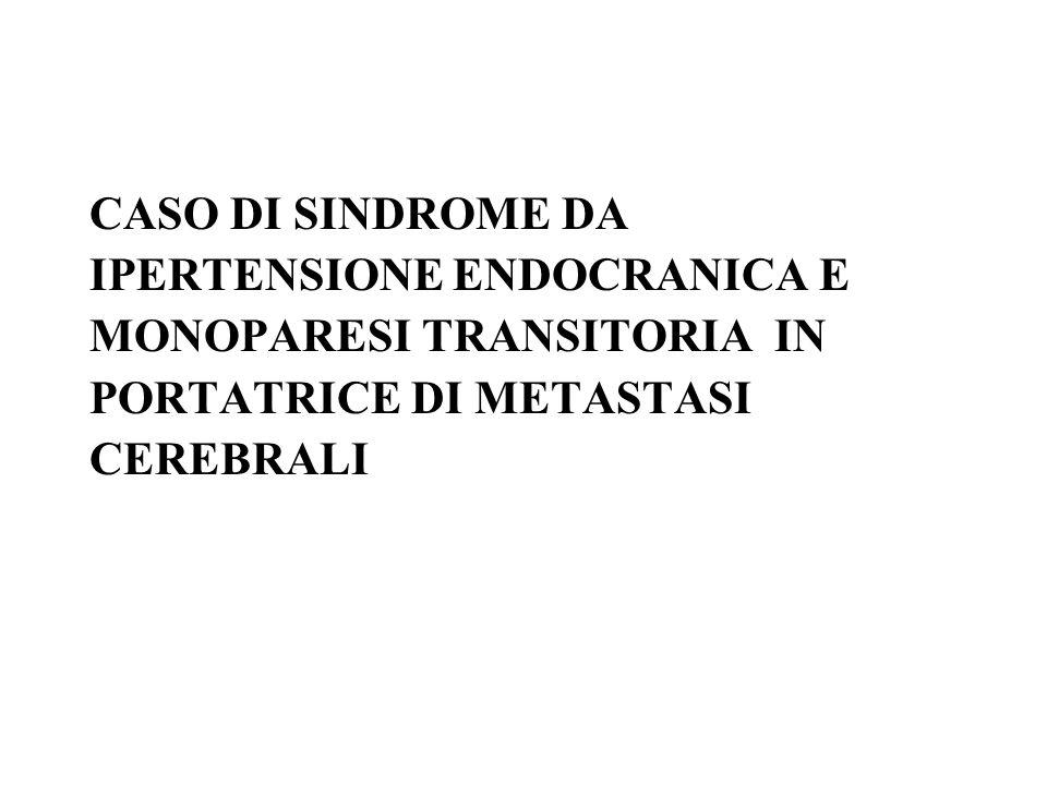 CASO DI SINDROME DA IPERTENSIONE ENDOCRANICA E MONOPARESI TRANSITORIA IN PORTATRICE DI METASTASI CEREBRALI