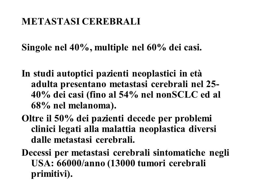 METASTASI CEREBRALI Singole nel 40%, multiple nel 60% dei casi. In studi autoptici pazienti neoplastici in età adulta presentano metastasi cerebrali n