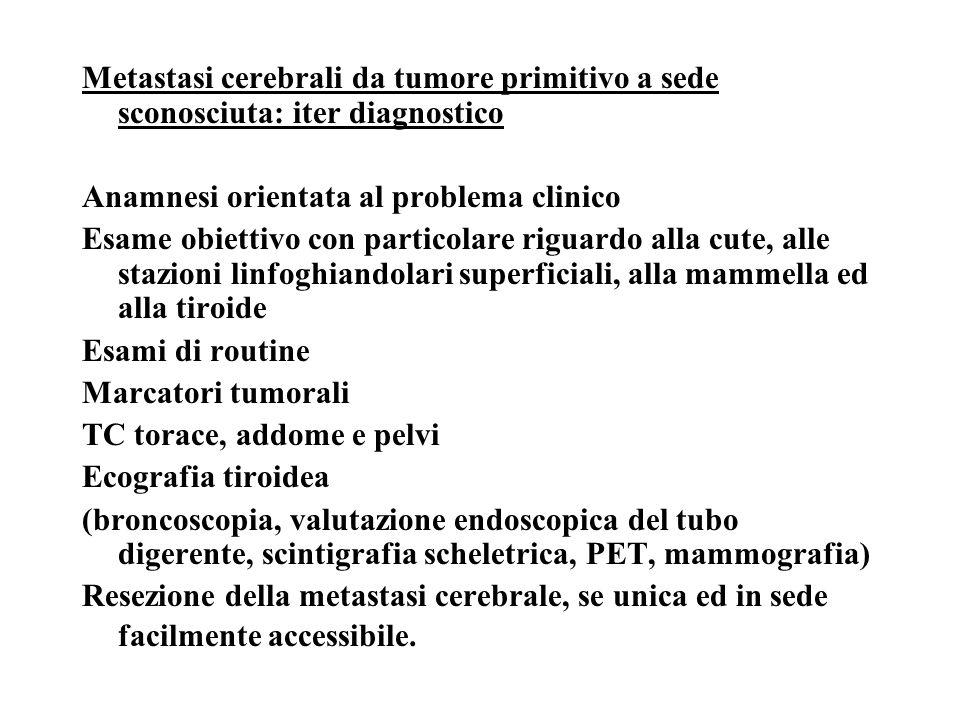 Metastasi cerebrali da tumore primitivo a sede sconosciuta: iter diagnostico Anamnesi orientata al problema clinico Esame obiettivo con particolare ri