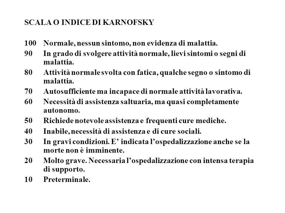 SCALA O INDICE DI KARNOFSKY 100Normale, nessun sintomo, non evidenza di malattia. 90 In grado di svolgere attività normale, lievi sintomi o segni di m
