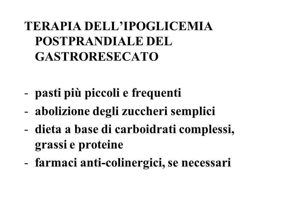 TERAPIA DELLIPOGLICEMIA POSTPRANDIALE DEL GASTRORESECATO -pasti più piccoli e frequenti -abolizione degli zuccheri semplici -dieta a base di carboidrati complessi, grassi e proteine -farmaci anti-colinergici, se necessari