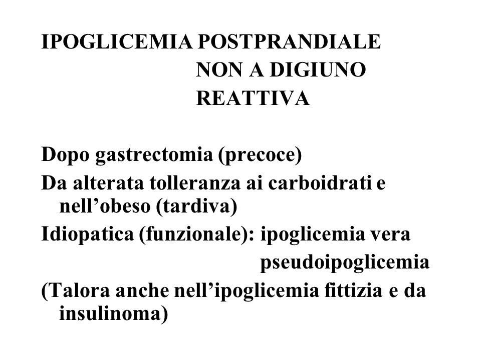 IPOGLICEMIA POSTPRANDIALE NON A DIGIUNO REATTIVA Dopo gastrectomia (precoce) Da alterata tolleranza ai carboidrati e nellobeso (tardiva) Idiopatica (funzionale): ipoglicemia vera pseudoipoglicemia (Talora anche nellipoglicemia fittizia e da insulinoma)