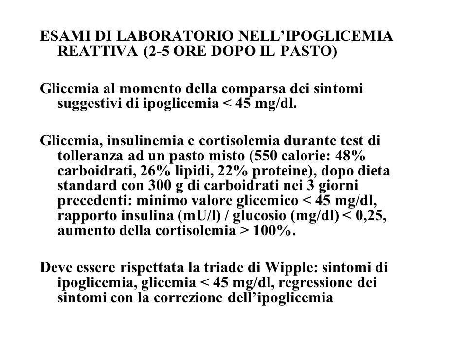 ESAMI DI LABORATORIO NELLIPOGLICEMIA REATTIVA (2-5 ORE DOPO IL PASTO) Glicemia al momento della comparsa dei sintomi suggestivi di ipoglicemia < 45 mg/dl.