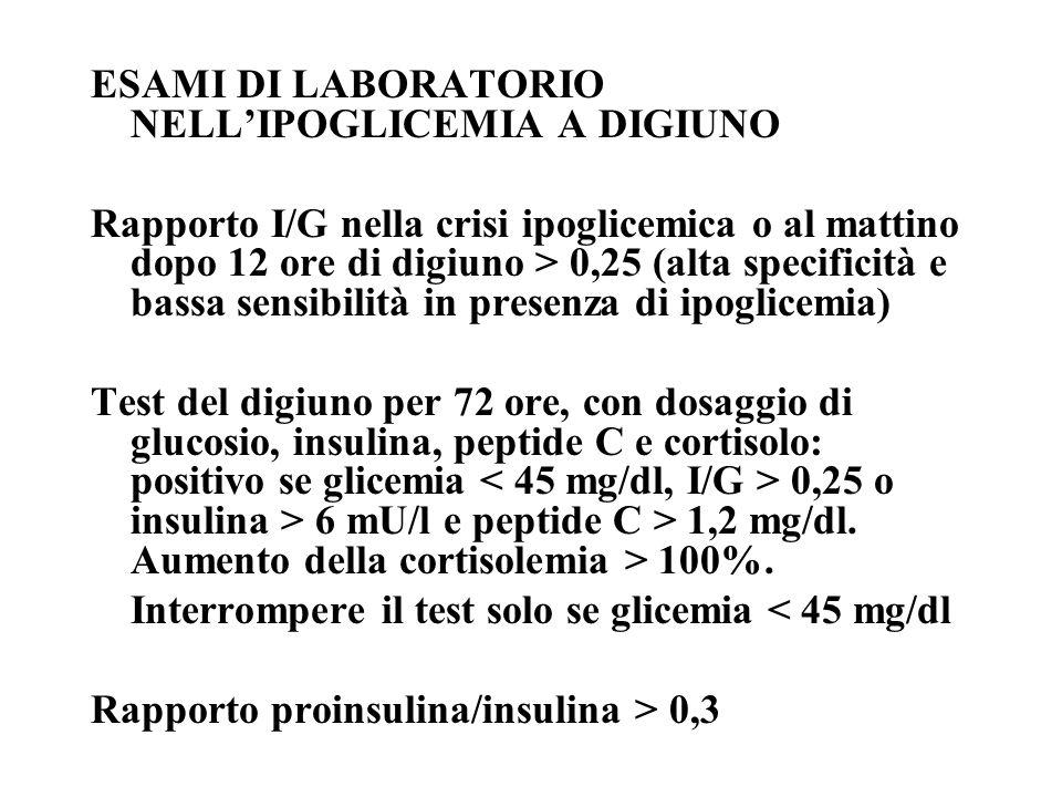 ESAMI DI LABORATORIO NELLIPOGLICEMIA A DIGIUNO Rapporto I/G nella crisi ipoglicemica o al mattino dopo 12 ore di digiuno > 0,25 (alta specificità e ba