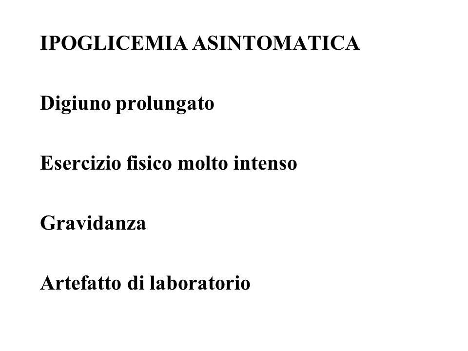 IPOGLICEMIA ASINTOMATICA Digiuno prolungato Esercizio fisico molto intenso Gravidanza Artefatto di laboratorio