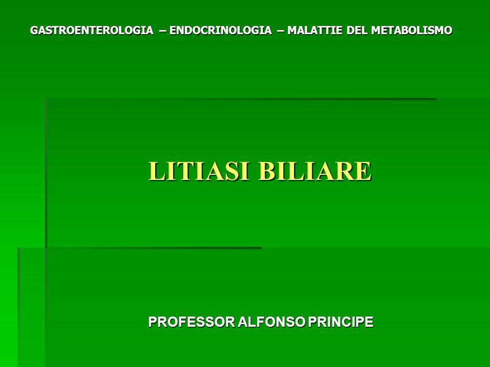 GASTROENTEROLOGIA – ENDOCRINOLOGIA – MALATTIE DEL METABOLISMO LITIASI BILIARE LITIASI BILIARE PROFESSOR ALFONSO PRINCIPE PROFESSOR ALFONSO PRINCIPE