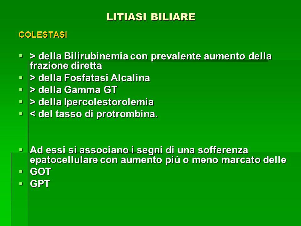 LITIASI BILIARE LITIASI BILIARE COLESTASI > della Bilirubinemia con prevalente aumento della frazione diretta > della Bilirubinemia con prevalente aum