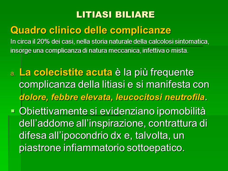 LITIASI BILIARE LITIASI BILIARE Quadro clinico delle complicanze In circa il 20% dei casi, nella storia naturale della calcolosi sintomatica, insorge