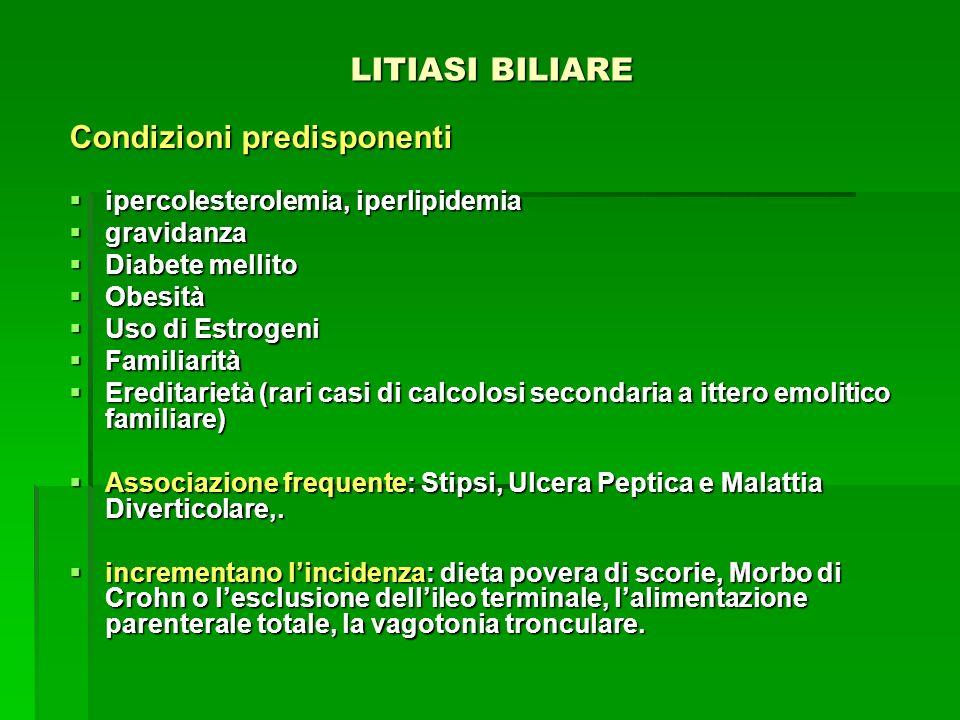 LITIASI BILIARE LITIASI BILIARE Condizioni predisponenti ipercolesterolemia, iperlipidemia ipercolesterolemia, iperlipidemia gravidanza gravidanza Dia