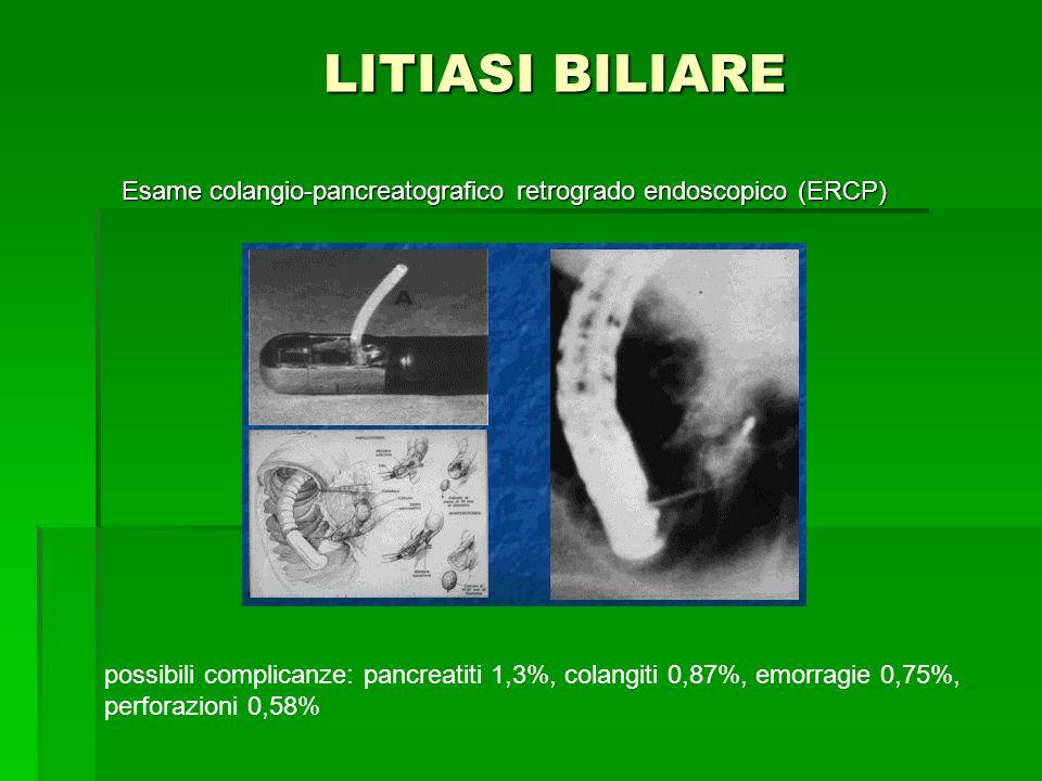 LITIASI BILIARE LITIASI BILIARE Esame colangio-pancreatografico retrogrado endoscopico (ERCP) possibili complicanze: pancreatiti 1,3%, colangiti 0,87%