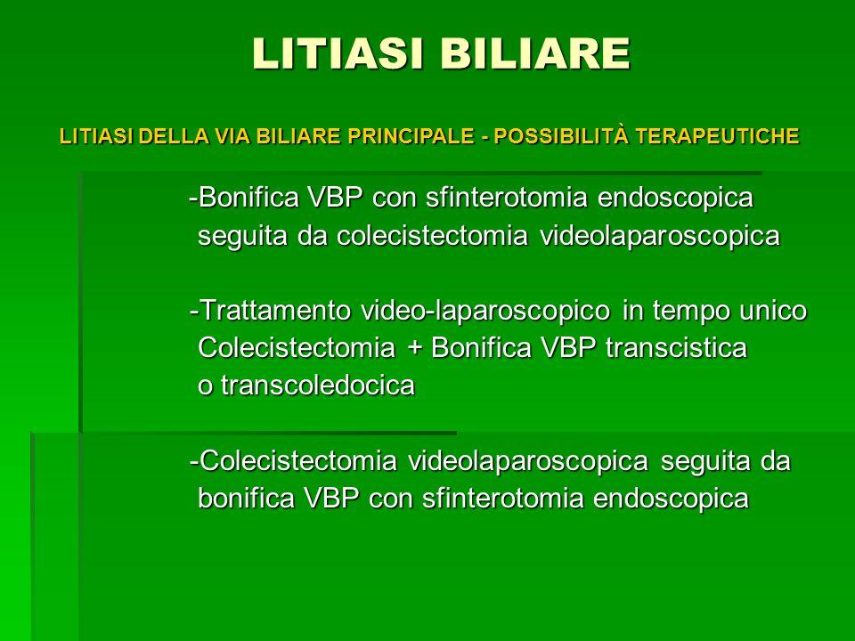 LITIASI BILIARE LITIASI BILIARE -Bonifica VBP con sfinterotomia endoscopica -Bonifica VBP con sfinterotomia endoscopica seguita da colecistectomia vid