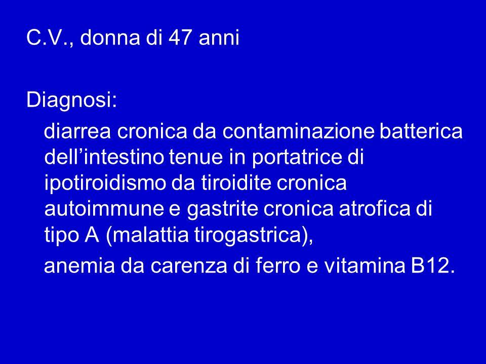 C.V., donna di 47 anni Diagnosi: diarrea cronica da contaminazione batterica dellintestino tenue in portatrice di ipotiroidismo da tiroidite cronica a