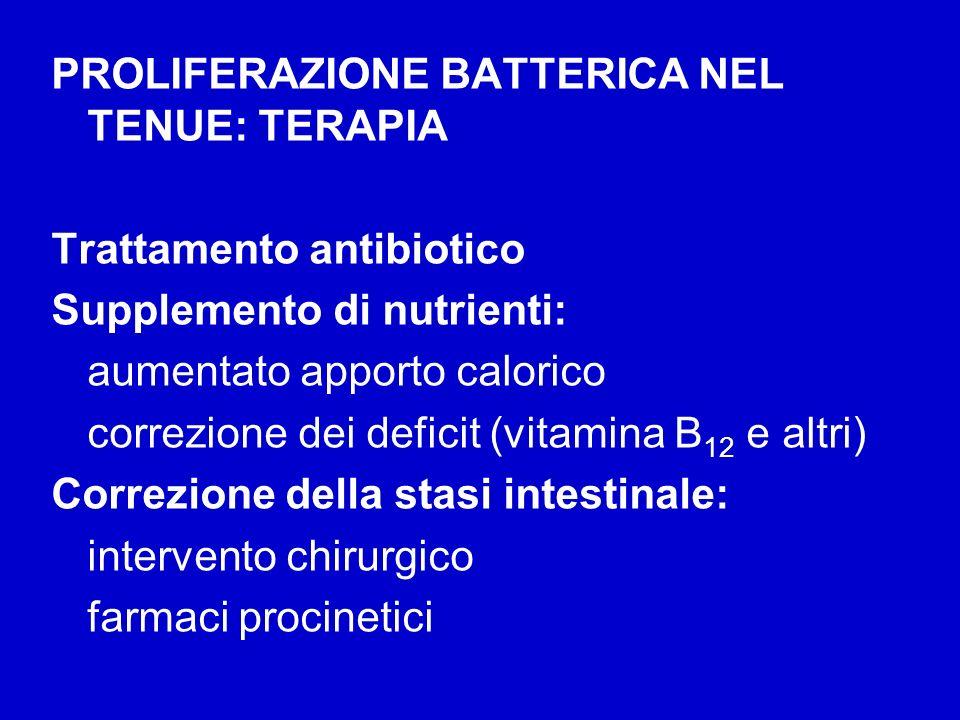 PROLIFERAZIONE BATTERICA NEL TENUE: TERAPIA Trattamento antibiotico Supplemento di nutrienti: aumentato apporto calorico correzione dei deficit (vitam