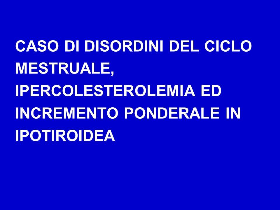 CASO DI DISORDINI DEL CICLO MESTRUALE, IPERCOLESTEROLEMIA ED INCREMENTO PONDERALE IN IPOTIROIDEA