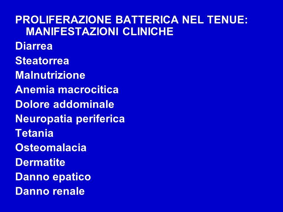 PROLIFERAZIONE BATTERICA NEL TENUE: MANIFESTAZIONI CLINICHE Diarrea Steatorrea Malnutrizione Anemia macrocitica Dolore addominale Neuropatia periferic