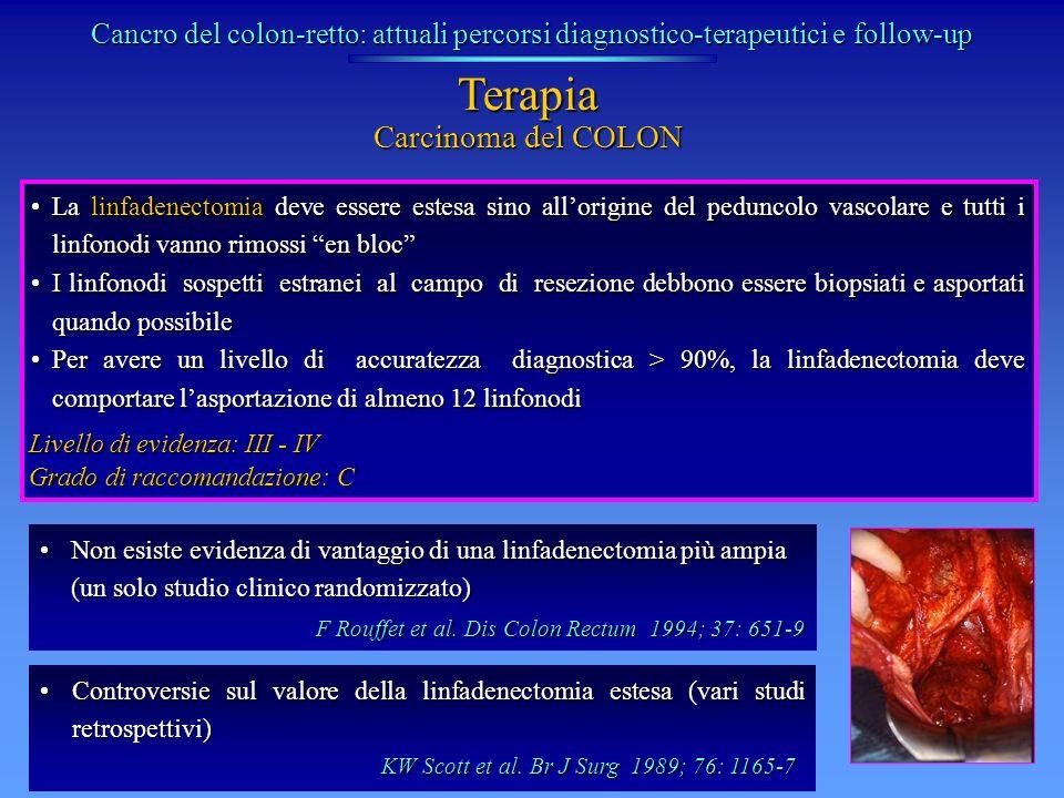 La linfadenectomia deve essere estesa sino allorigine del peduncolo vascolare e tutti i linfonodi vanno rimossi en blocLa linfadenectomia deve essere