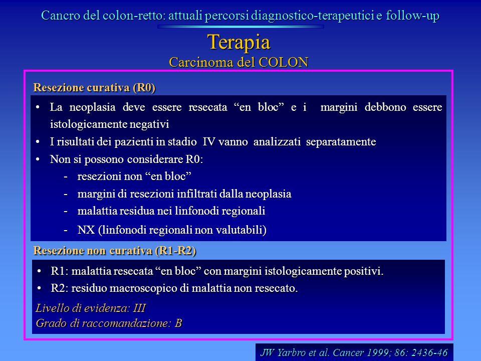 Resezione curativa (R0) La neoplasia deve essere resecata en bloc e i margini debbono essere istologicamente negativiLa neoplasia deve essere resecata
