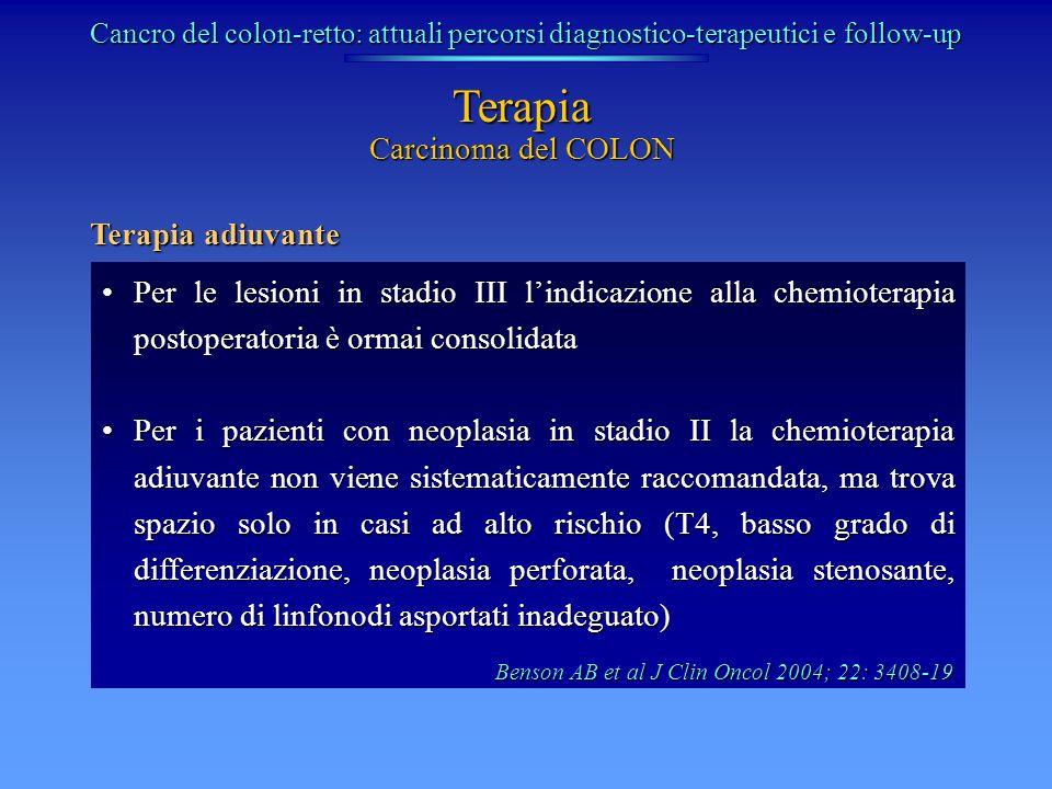 Carcinoma del COLON Terapia Per le lesioni in stadio III lindicazione alla chemioterapia postoperatoria è ormai consolidataPer le lesioni in stadio II