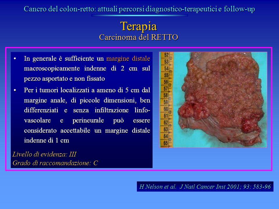 Carcinoma del RETTO Terapia In generale è sufficiente un margine distale macroscopicamente indenne di 2 cm sul pezzo asportato e non fissatoIn general