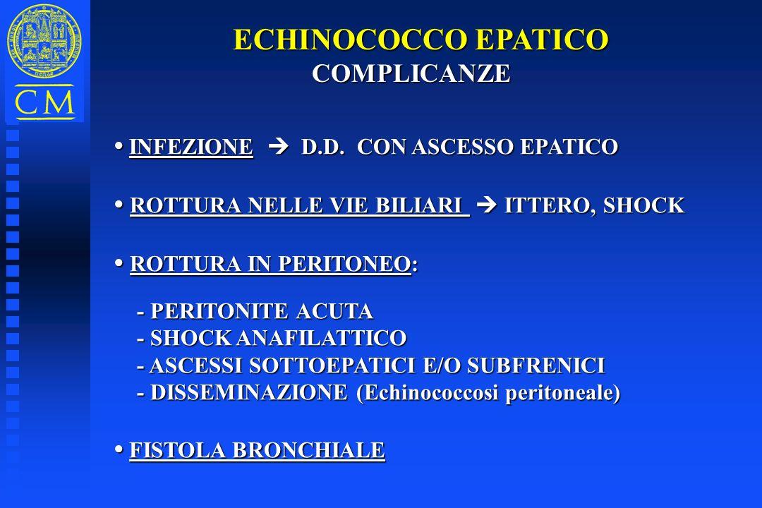 ECHINOCOCCO EPATICO COMPLICANZE COMPLICANZE INFEZIONE D.D. CON ASCESSO EPATICO INFEZIONE D.D. CON ASCESSO EPATICO ROTTURA NELLE VIE BILIARI ITTERO, SH