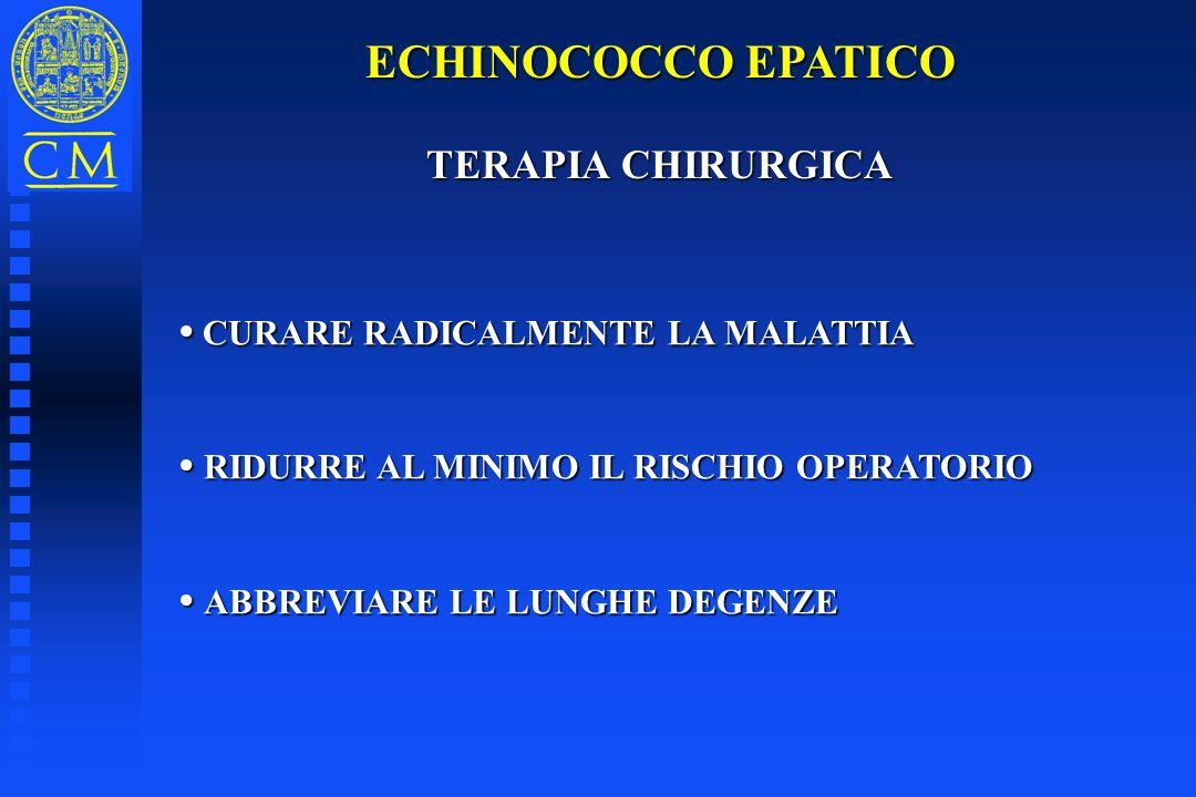 ECHINOCOCCO EPATICO TERAPIA CHIRURGICA TERAPIA CHIRURGICA CURARE RADICALMENTE LA MALATTIA CURARE RADICALMENTE LA MALATTIA RIDURRE AL MINIMO IL RISCHIO