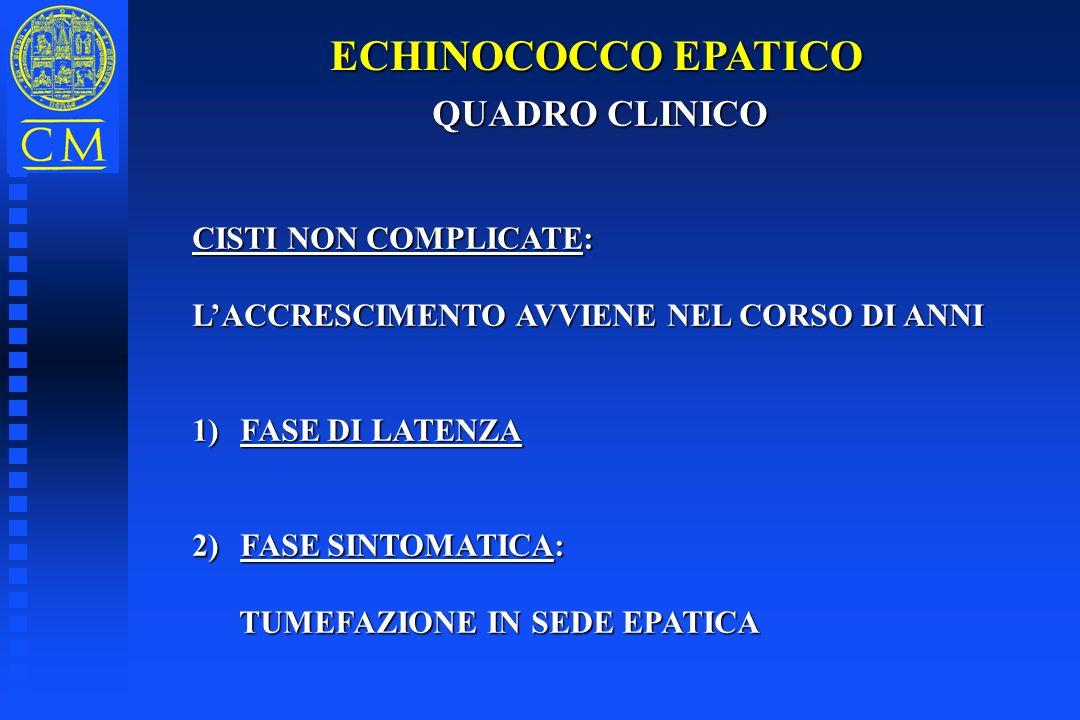 ECHINOCOCCO EPATICO QUADRO CLINICO QUADRO CLINICO CISTI NON COMPLICATE: LACCRESCIMENTO AVVIENE NEL CORSO DI ANNI 1)FASE DI LATENZA 2)FASE SINTOMATICA: