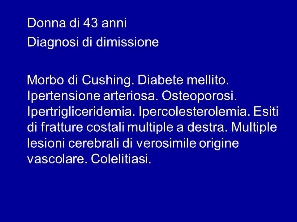 Donna di 43 anni Diagnosi di dimissione Morbo di Cushing. Diabete mellito. Ipertensione arteriosa. Osteoporosi. Ipertrigliceridemia. Ipercolesterolemi