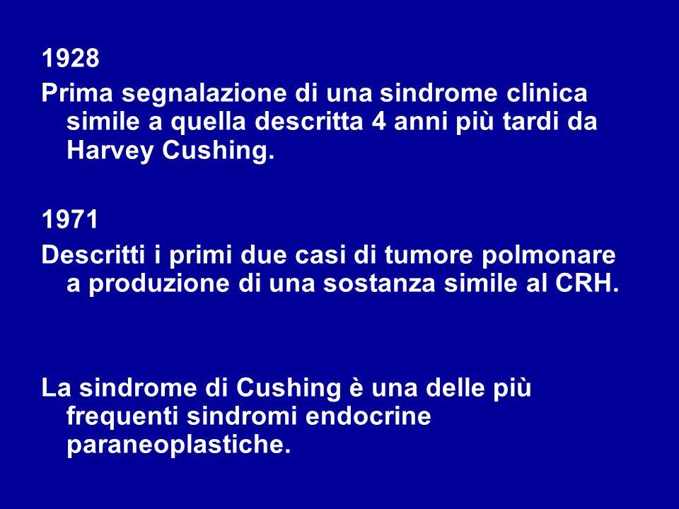 1928 Prima segnalazione di una sindrome clinica simile a quella descritta 4 anni più tardi da Harvey Cushing. 1971 Descritti i primi due casi di tumor