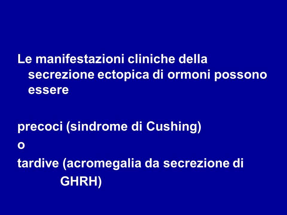 Le manifestazioni cliniche della secrezione ectopica di ormoni possono essere precoci (sindrome di Cushing) o tardive (acromegalia da secrezione di GH