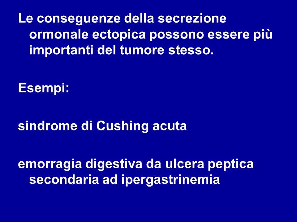 Le conseguenze della secrezione ormonale ectopica possono essere più importanti del tumore stesso. Esempi: sindrome di Cushing acuta emorragia digesti