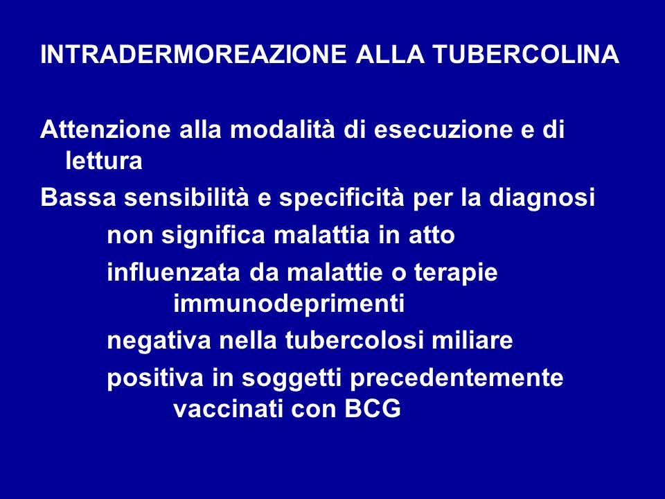 INTRADERMOREAZIONE ALLA TUBERCOLINA Attenzione alla modalità di esecuzione e di lettura Bassa sensibilità e specificità per la diagnosi non significa