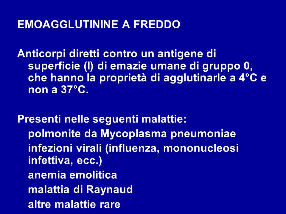 EMOAGGLUTININE A FREDDO Anticorpi diretti contro un antigene di superficie (I) di emazie umane di gruppo 0, che hanno la proprietà di agglutinarle a 4