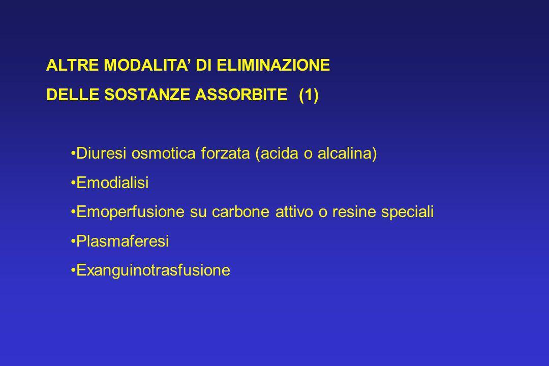 ALTRE MODALITA DI ELIMINAZIONE DELLE SOSTANZE ASSORBITE (1) Diuresi osmotica forzata (acida o alcalina) Emodialisi Emoperfusione su carbone attivo o r